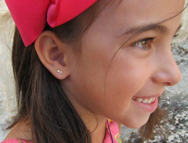 pendientes enredadera circonita oro niña bebe rosca seguridad oreja