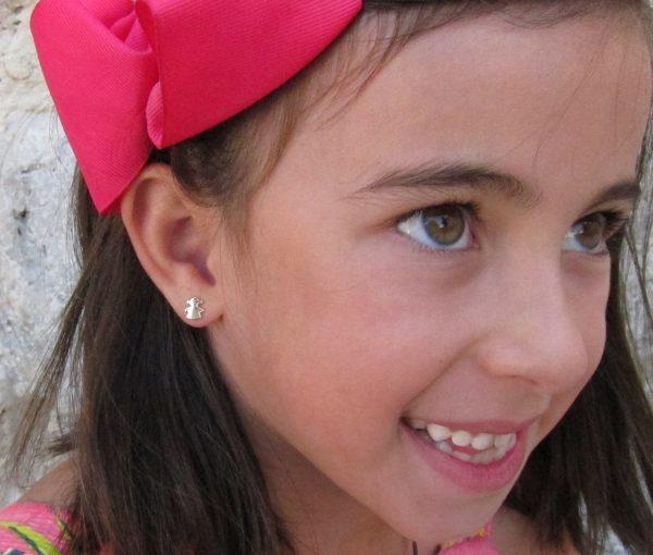 pendientes niña oro bebe niña rosca seguridad oreja modelo