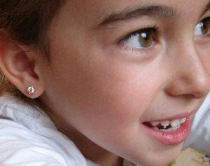 pendientes seis garras circonita oro niña bebe rosca seguridad oreja