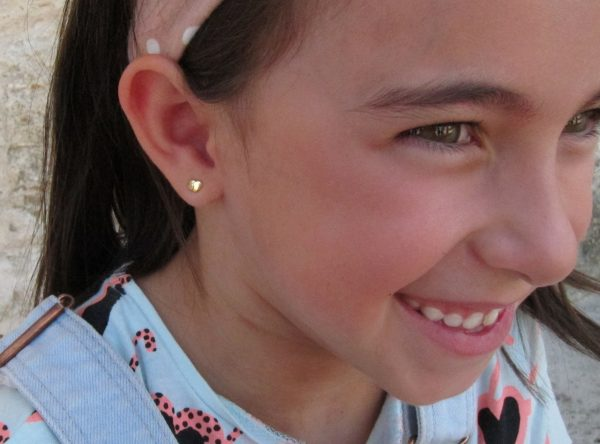 pendientes doble corazon oro bebe niña rosca seguridad oreja