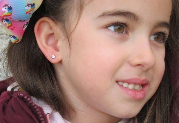 pendientes redondo donuts circonita oro blanco niña bebe rosca seguridad oreja