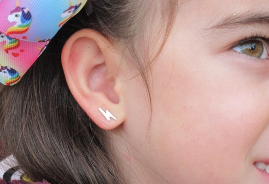 pendientes rayo oro mocosa regalo niña bebe barato oreja