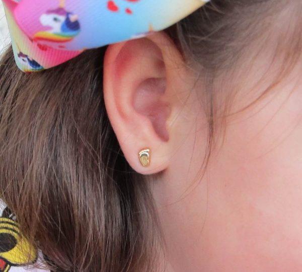pendientes oro niña bebe rosca hipoalergénico 18k diferentes regalo moda pie liso en la oreja recién nacida aretes