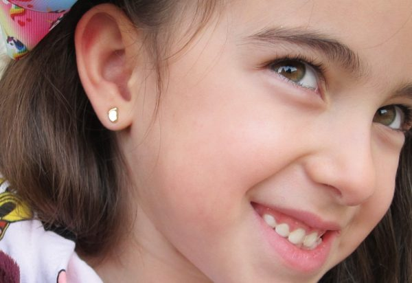 pendientes pie oro bebe niña rosca seguridad oreja