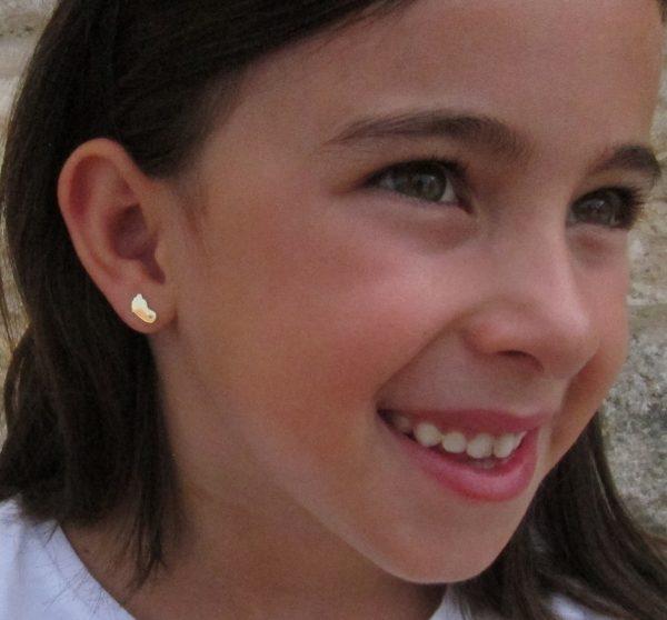 pendientes pie circonita oro niña bebe rosca seguridad oreja
