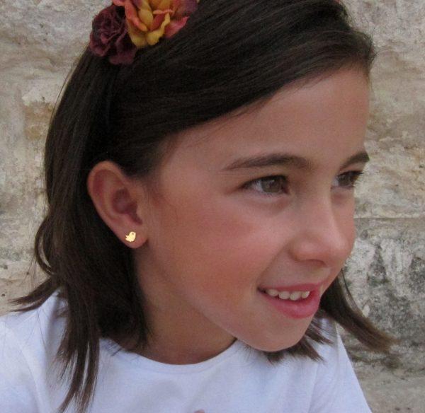 pendientes pajarito pajaro circonita oro niña bebe rosca seguridad oreja
