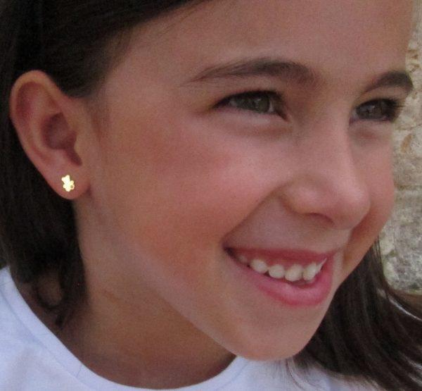 pendientes osito oso circonita oro niña bebe rosca seguridad oreja