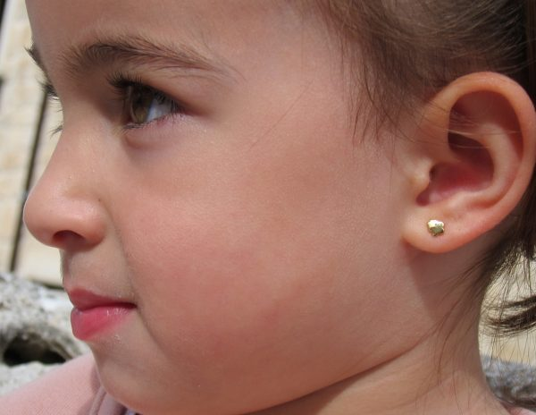 pendientes doble flor niña bebe rosca seguridad oreja