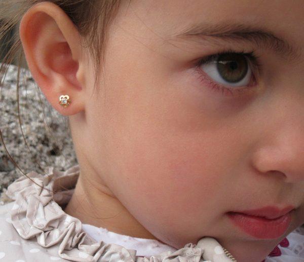 pendientes flor circonita oro rosca seguridad bebe niña oreja Top 10 pendientes baratos