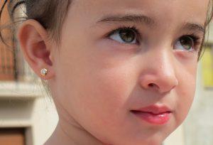 pendientes hexagono estrella oro rosca seguridad bebe niña oreja