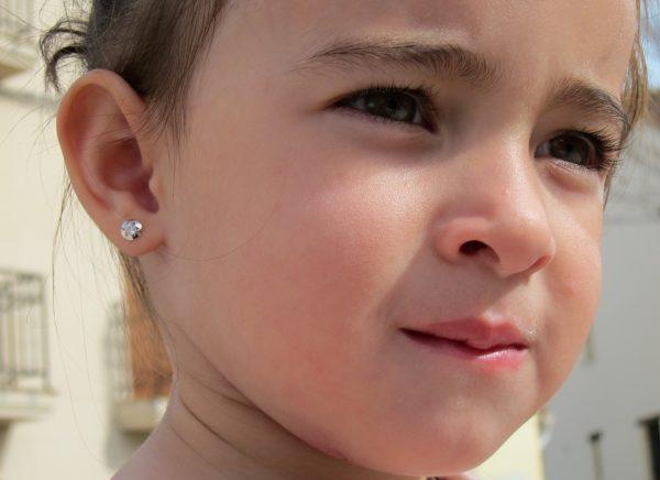 pendientes redondos estrella oro blanco rosca seguridad bebe niña oreja
