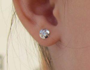 Pendientes redondos estrella circonita niña oro blanco rosca en la oreja mujer niña pequeña