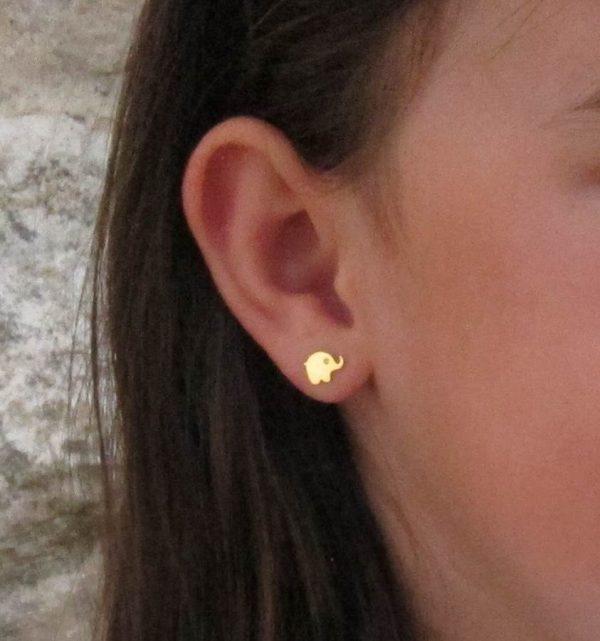 pendientes elefante circonita oro niña bebe rosca seguridad pequeña mujer hipoalergénicos tuerca aretes en la oreja modelo