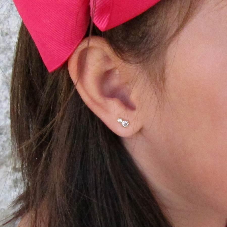 pendientes enredadera circonita oro niña bebe rosca mujer hipoalergénicos aretes seguridad en la oreja