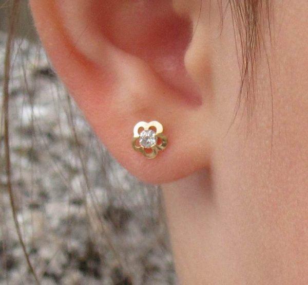 pendientes flor baratos circonita oro rosca tuerca seguridad recién nacida bebe niña mujer hipoalergénicos aretes en la oreja