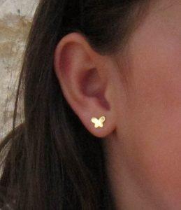 pendientes mariposa circonita oro niña bebe rosca pequeña seguridad hipoalergénicos tuerca aretes en la oreja
