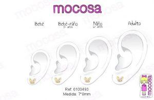 pendientes mariposa grande circonita bicolor oro rosca seguridad niña pequeña comunión hipoalergénicos aretes en la oreja