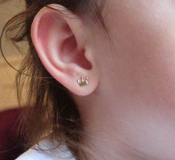 pendientes oro corona mocosa regalo niña oro blanco plata hipoalergénico arete rosca tuerca pequeña joven mujer en la oreja