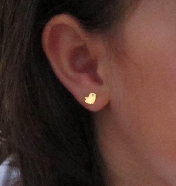 pendientes pajaro pajaro circonita oro niña bebe rosca seguridad 18k aretes hipoalergénicos grandes tuerca en la oreja circonita