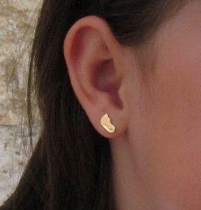 pendientes pie circonita oro niña bebe rosca pequeña seguridad hipoalergénicos aretes tuerca en la oreja