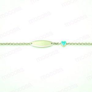 pulsera gargantilla plata corazon turquesa mocosa regalo niña comunión conjunto chapa oval grabar