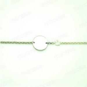 pulsera gargantilla chapa redonda plata corona mocosa regalo niña comunion hipoalergenico