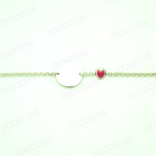 Pulsera Plata Corazón Rosa