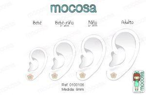 plata oreja como quedan pendientes de 7 mm plata niña bebe rosca hipoalergenico comodos forrados diferentes regalo moda mocosa flor aretes
