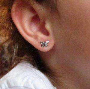 pendientes mujer plata niña bebe rosca no alergia comodos forrados diferentes regalo moda mocosa mariposas mate brillo circonita hipoalergenicos en la oreja