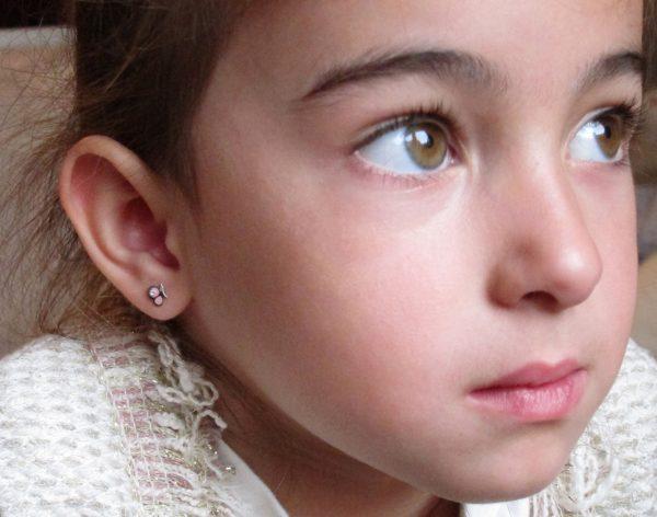 Pendientes mariposa rosa plata bebe niña rosca mocosa seguridad oreja