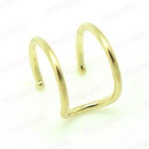 piercing presión paralelo oro ear cuff niña joven moda