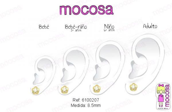 flor cuatrebol perla oro circonita oreja como quedan pendientes aretes hipoalergénico