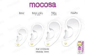 corazon perla en la oreja pendientes aretes hipoalergénicos tuerca roscas oro 18k bebé recién nacida niña pequeña