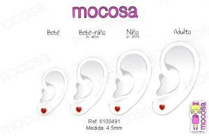 corazon esmalte en la oreja como queda puesto modelo pendientes rojo aretes hipoalergenicos rosca tuerca pequeñas