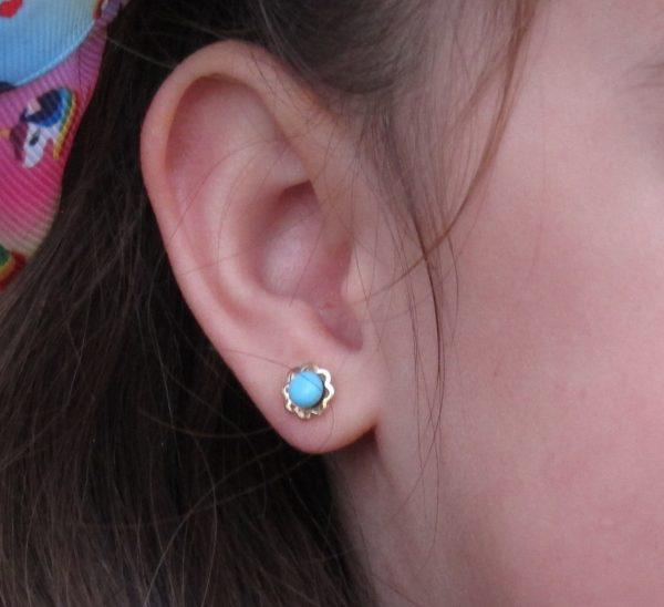 pendientes flor turquesa niña bebe rosca seguridad oreja