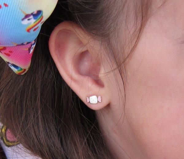 pendientes oro niña bebe rosca no alergia 18 forrados comodos diferentes regalo moda diferente mocosa color caramelo oreja