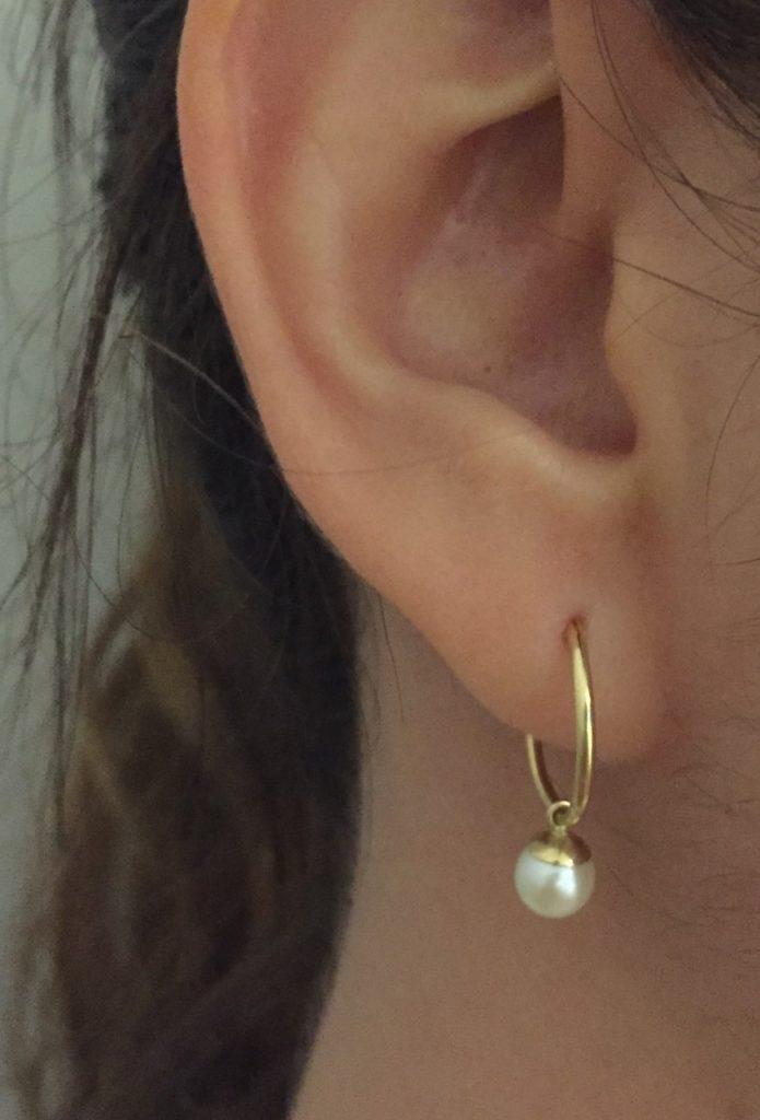 Colgante aro perla cultivada oro moda mocosa