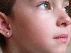 Pendientes animales conejo mate brillo plata bebe niña rosca hipoalergenicos aretes en la oreja