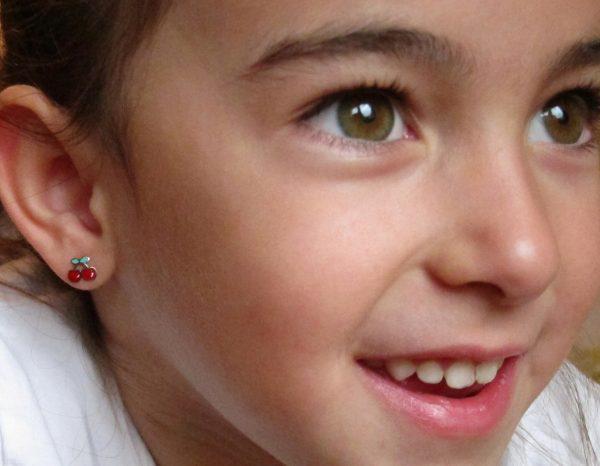 pendientes cerezas plata niña bebe rosca seguridad oreja