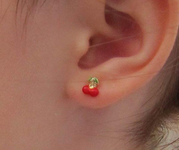 Pendientes color fruta cerezas oro amarillo bebe niña rosca en la oreja niña bebé hipoalergénico aretes tuerca