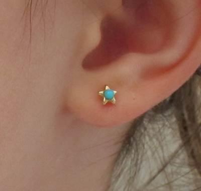 Pendientes estrella niña bebe turquesa oro amarillo rosca pequeña recien nacida bebé en la oreja modelo hipoalergénicos