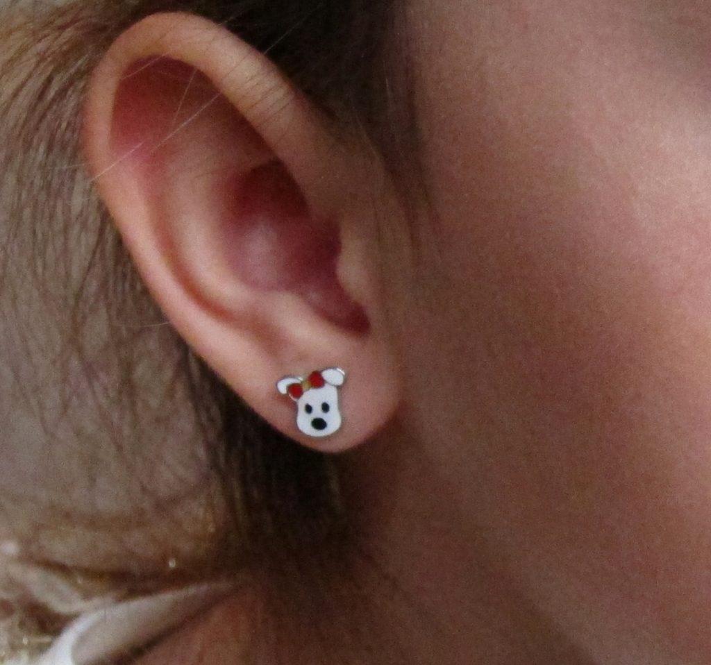 Pendientes perro perito plata bebe niña rosca mocosa seguridad oreja