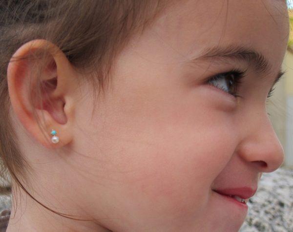 pendientes perla turquesa tu y yo niña bebe rosca seguridad oreja