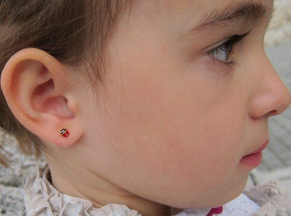 pendientes super mariquita oro rosca niña bebe seguridad oreja