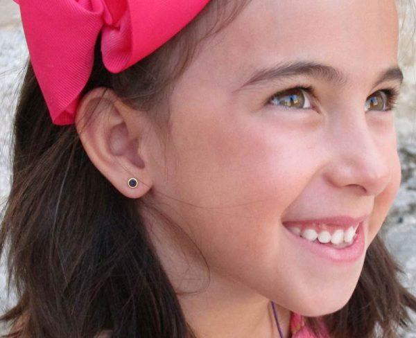 pendientes azul marino circonita niña mujer bebe regalo rosca oro hipoalergénico tuerca arete en la oreja