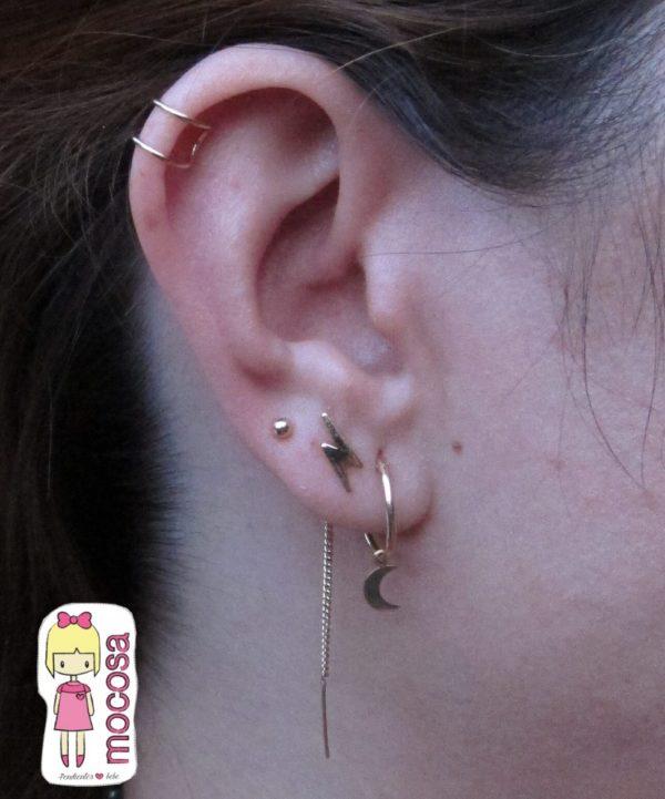 pendientes ear cuff conjunto oreja rayo luna bola niña oro mocosa