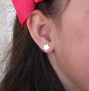 pendientes estrella oro rosca seguridad niña regalo tuerca rosca mujer hipoalergenico arete en la oreja de cerca