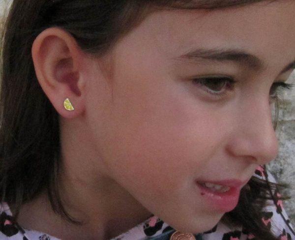 pendientes limon naranja plata baratos regalo niña bebe rosca tuerca hipoalergénico en la oreja modelo