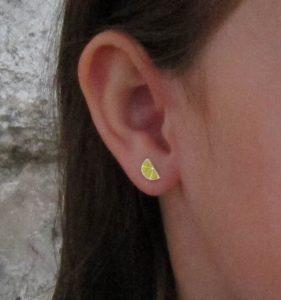 pendientes limon naranja plata baratos regalo niña bebe rosca tuerca hipoalergénico en la oreja