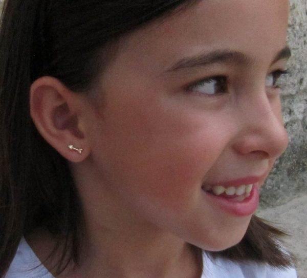 pendientes oro flecha baratos rosca niña mujer regalo joven hipoalergenicos tuerca aretes en la oreja modelo